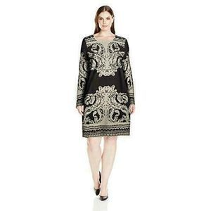 NY Collection Jacquard Knit Sweater Dress